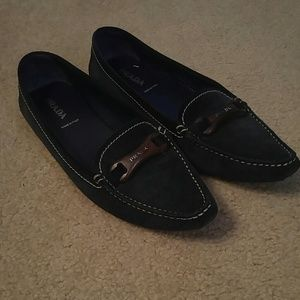 Prada Dark Charcoal Suede Leather Flats size 41